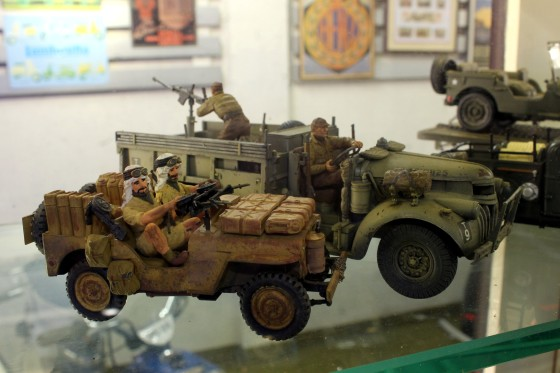 Willys MB Jeep and Chevrolet truck representing SAS and LRDG roles in WW II